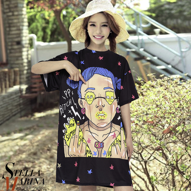 2017 New Korean Women Summer Cartoon Printed Dress O Neck Short Sleeve Cute  Girls Mini