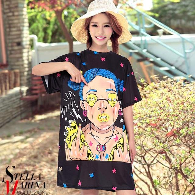 2017 New Korean Women Summer Cartoon Printed Dress O Neck Short Sleeve Cute  Girls Mini