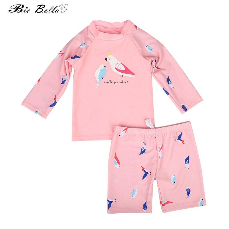 Summer Kids Girls Swimwear Suit Children Girls Swimsuit Long Sleeve Tops+Pants 2Pcs Girls Swimwear Suit Fashion Swimming Clothes