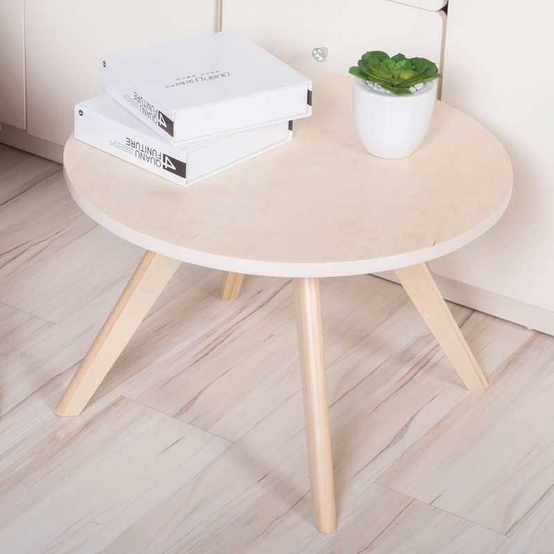 Round Wooden Coffee Table DIA60 CM Beech Wood пуф wooden круглый белый