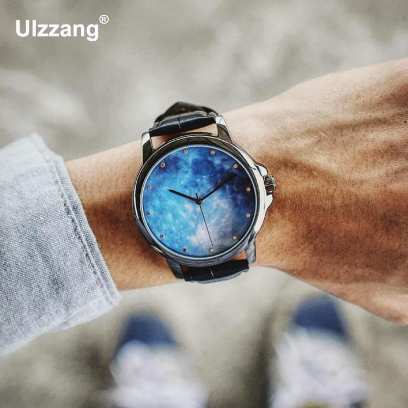 Fashion Casual Star Sky Hip-hop Leather Quartz Analog Wristwatches Wrist Watch for Men Boy Young Students