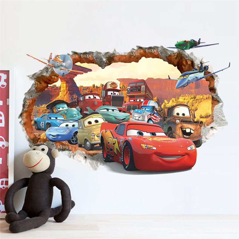 creative home decor 3d wall stickers cartoon cars pattern for baby room 5070 cm