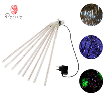 Colorful Decoration Strip Light LED Meteor Raining Tube Christmas Holiday Festival String 10Pcs/Set 50CM With AC/DC Adaptor Plug