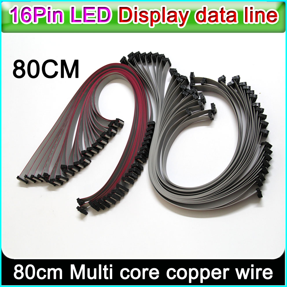<font><b>LED</b></font> display data line,16 Pin Flexible Flat Cable <font><b>80cm</b></font> length, P3 P5 P6 P10 Single&double color Full color Signal connecting line image
