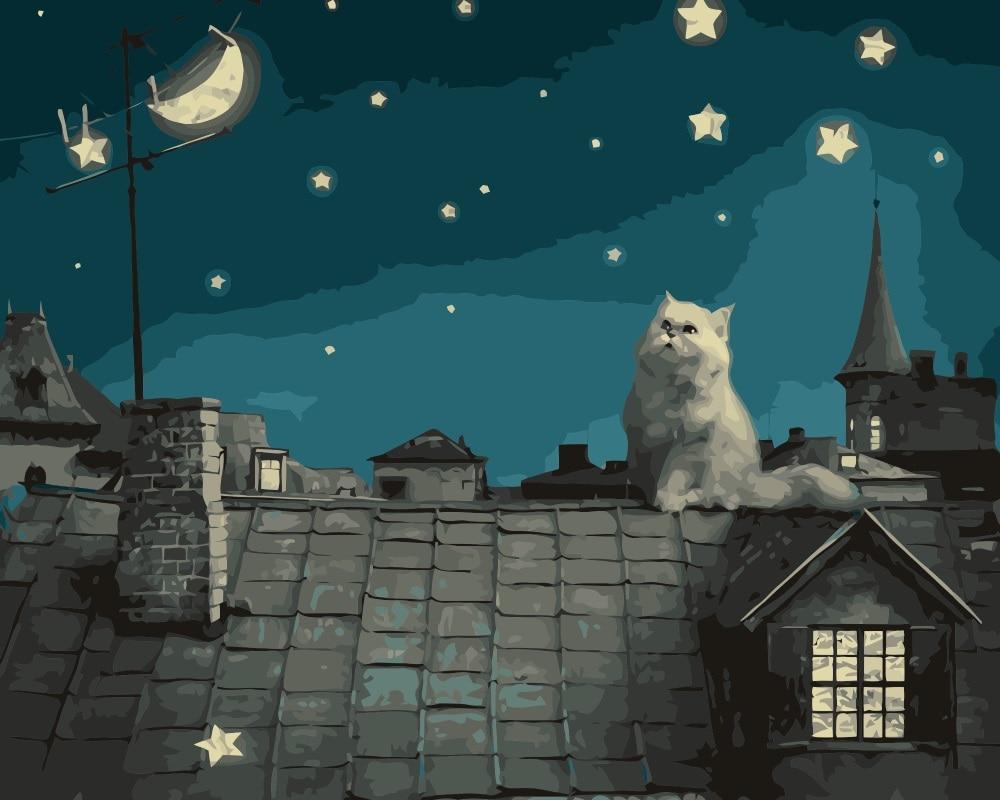 Aliexpress Com Buy Mahuaf I610 White Cat On The Roof Diy