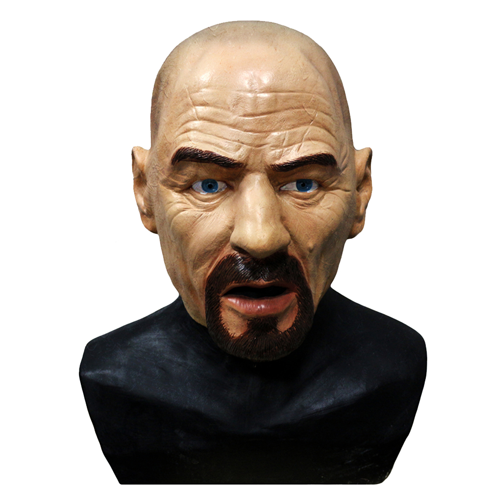 Realistic Bald Head Latex Mask Celebrity Mask Walter White Human Male Head Mask Fancy Dress Costumes Cosplay image