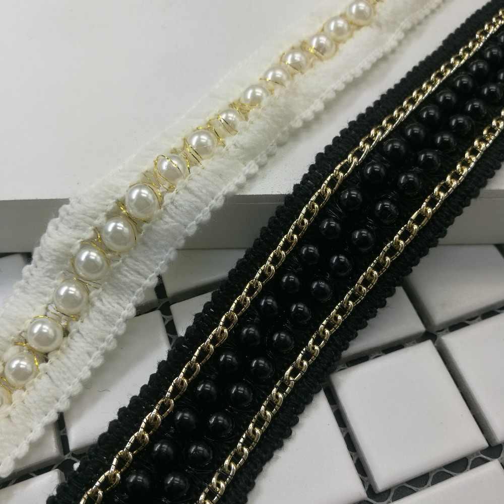 1 חצר לבן שחור שרשרת כותנה פרל חרוזים רקום בד תחרה לקצץ סרט בעבודת יד DIY תפירת ספקי קרפט קישוט