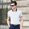 2017 new style summer men's short sleeve T-shirt fashion edition men's clothing collar men checked clothes cotton