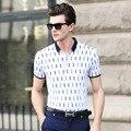 2017 novo estilo de verão dos homens de manga curta t-shirt da forma dos homens edição clothing verificado roupas de algodão dos homens de colarinho