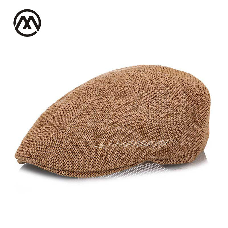 New Fashion Summer Men's Beret Hat Brown Hats Casquette Gorras Casual Linen Sun caps Sun Visor Breathable Straw Solid Color bone(China)