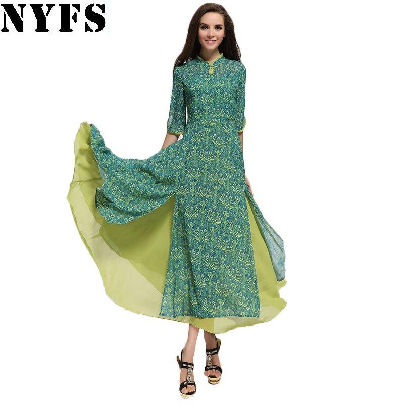 NYFS 2018 New Style Spring Autumn womens dresses Hot selling chiffon dress Sweet ladies long dress