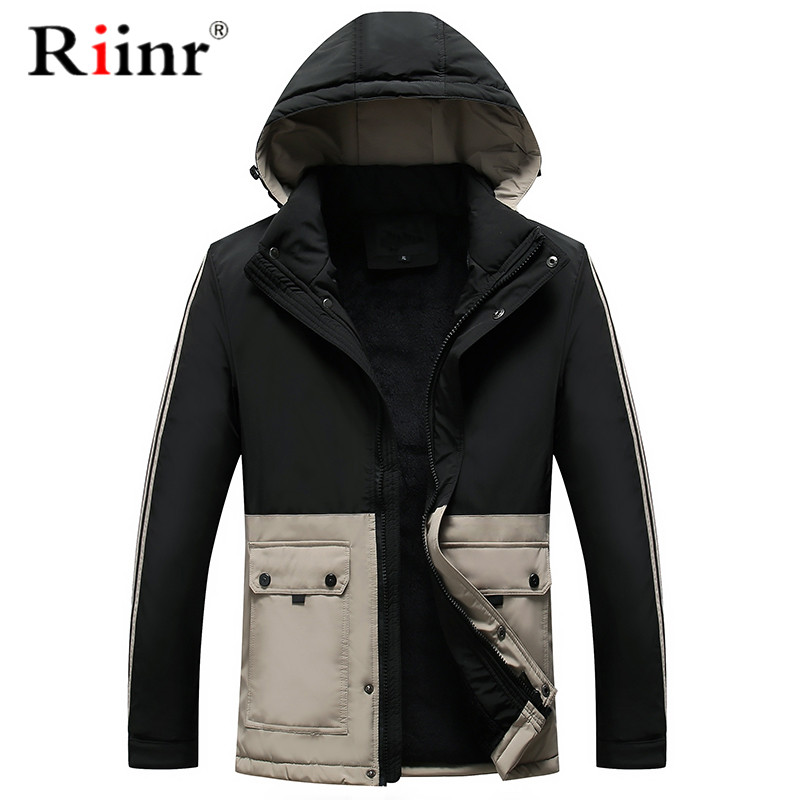 Riinr Brand New Men Winter Parka Jacket Thermal Thick Men's Patch Work Warm Hooded Parkas Male Windproof Parkas Coat