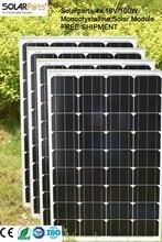 Solarparts 4x 100W Monocrystalline Solar Module by mono solar cell factory cheap selling 12V solar panel