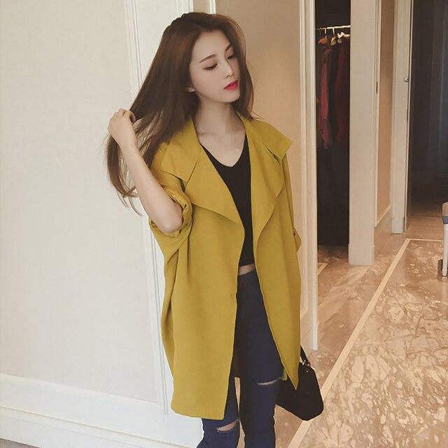 New Fashion Women Spring Autumn 3/4 Sleeve Solid Windbreaker Turn-down Collar Pockets Slim Elegant Trench Outwears