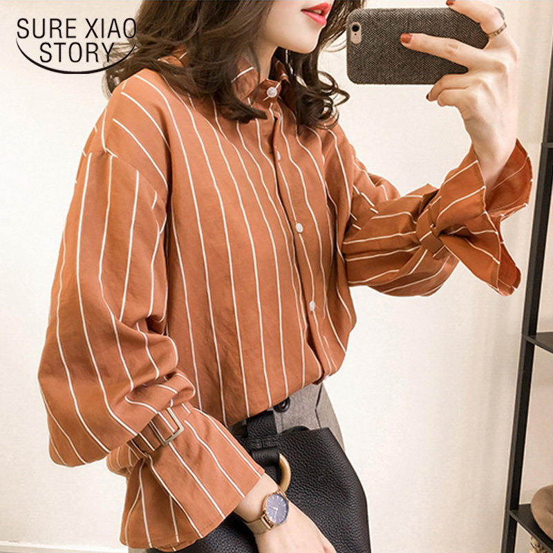 80ff7f2a9c1 2018 spring new long sleeved blouses casual plus size female shirts striped  women tops button fashion