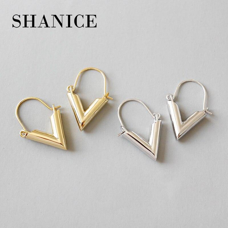 SHANICE 925 Sterling Silver statement V Shape Geometric earrings For Women Hanging Dangle Earrings Drop Earing modern Jewelry silver hollow geometric dangle earrings