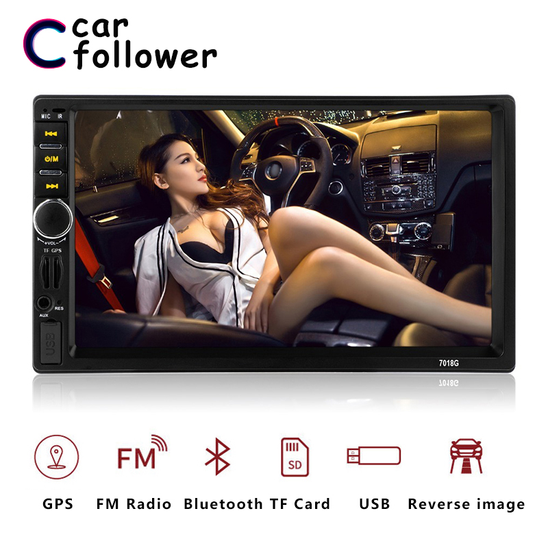 <font><b>7018G</b></font> 2 Din Auto Car Multimedia Player <font><b>GPS</b></font> Navigation 7'' inch HD Touch Screen MP3 MP5 Audio Stereo Car Radio Bluetooth FM USB image