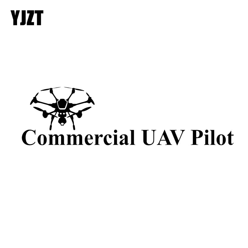 YJZT 15.2CM*4.2CM Commercial UAV Pilot Drone Vinyl Decal Car Sticker Black/Silver C3-0147