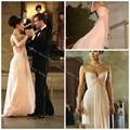 Jennifer Lopez barato Una Línea de Cariño Piso de Longitud Gasa Vestidos de La Celebridad Sexy Vestidos de la Alfombra Roja Vestido De Fiesta