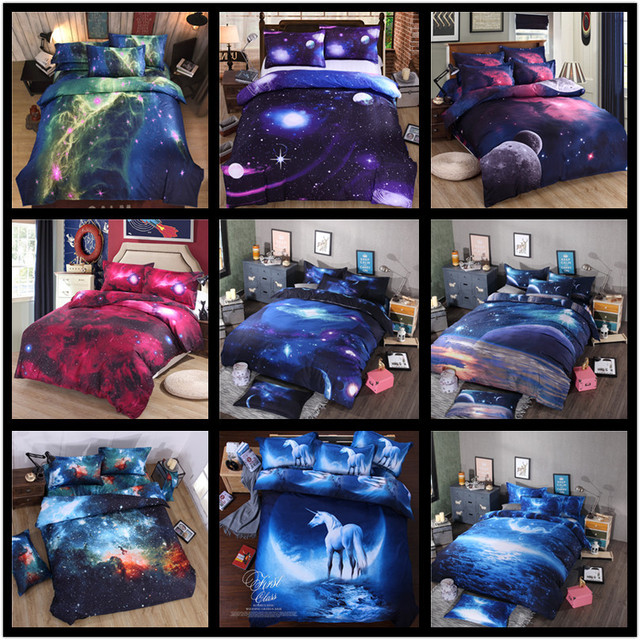 3pcs/set 3D Personality Printed Star Universe Galaxy Soft Comforter Cover Fitted Sheet Pillowcase Duvet Cover Bedding Set