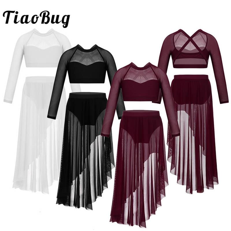 TiaoBug Kids Teens Tulle Lyrical Dance Costumes Set Long Sleeve Crop Top With Ballet Tutu Skirt Gymnastics Shorts Tops Dancewear
