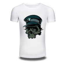 DY-201 New Punk T Shirts O-Neck Skull Printed Hiphop T Shirt Tops Cotton White Fashion Slim T Shirt Size M-XXXL