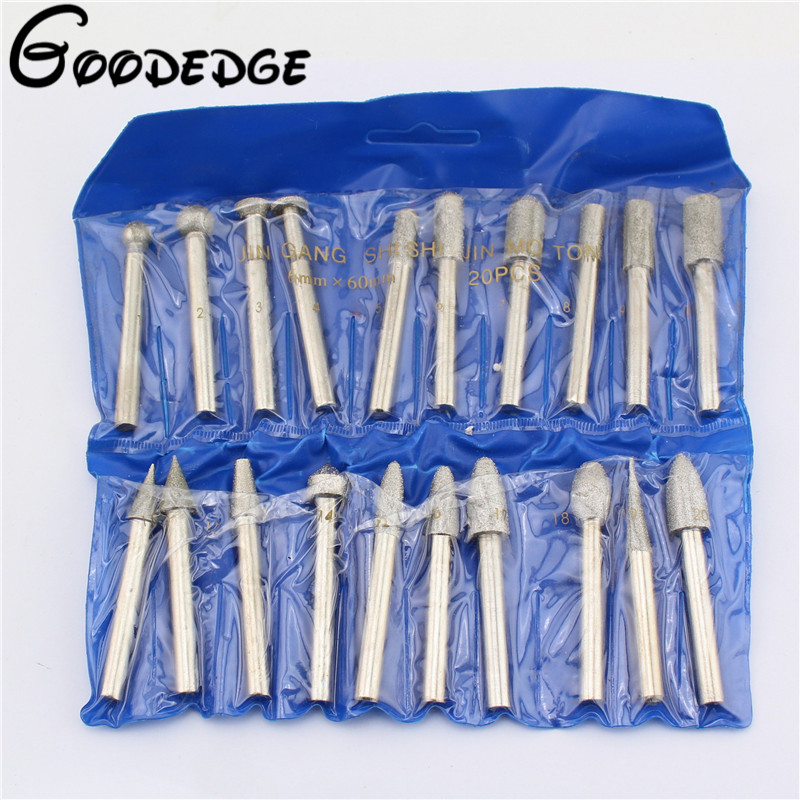 Abrasive Tools 20pcs Diamond Tools Dremel Diamond Burs Abrasive Diamond Grinding Wheel Disc File Router Bit Polishing For Granite Stone Glass