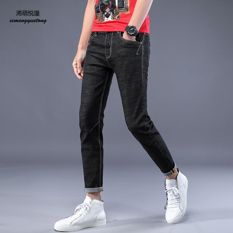 2018 spring and summer new street fashion youth pop jeans men, street casual wild stretch solid color feet nine jeans men