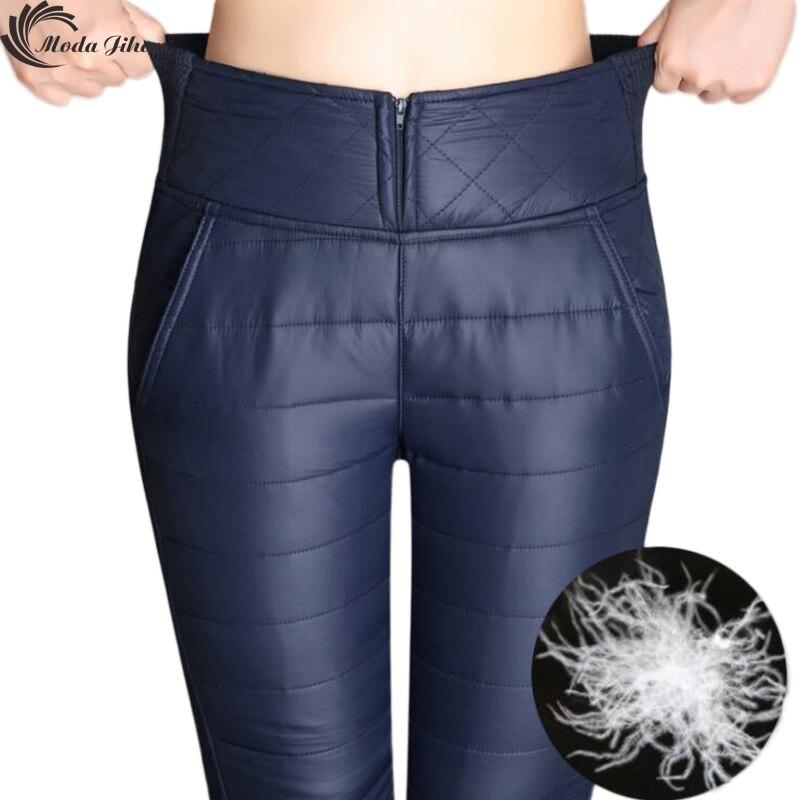 Moda Jihan Frauen Winter Hosen Neue Design Winddichte Daunenhose Stitching Schlank Warme Hohe Taille Plus Dicke Samt Hosen Hosen