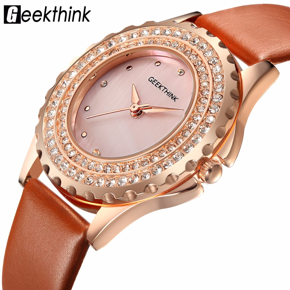GEEKTHINK Ladies Fashion Rhinestone Watches Women Quartz Leather Dress Watch Female Clock montre femme Relogio Feminino dom fashion quartz women watch rhinestone leather casual dress watches rose gold ladies clock relogio feminino montre femme