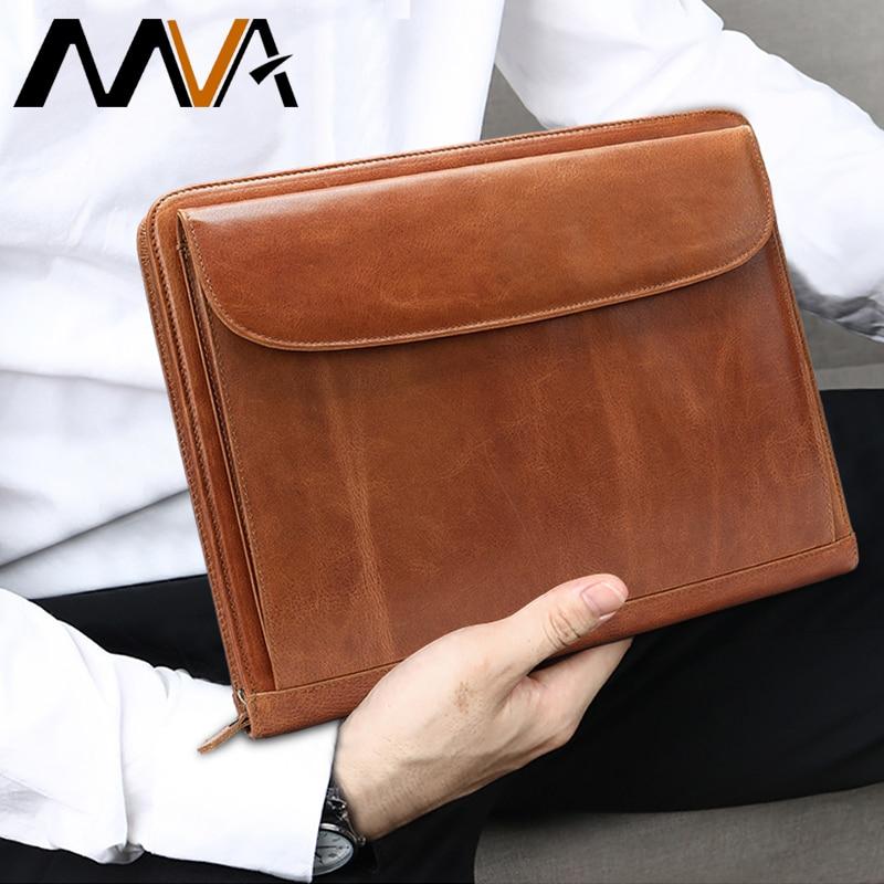 Bolso de mano MVA para hombres bolso de cuero para documentos A4 carpeta de archivos bolsas hombre embrague tarjetero hombres bolsos Cartera de almacenamiento monedero 8704 - 6