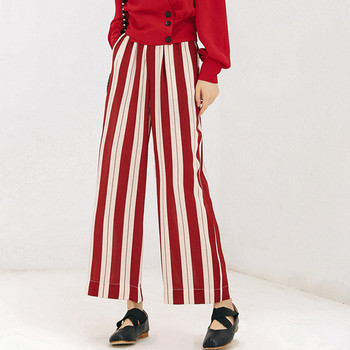 Frilled High Waist Striped Pants Women Fashion Clothing Elastic Waist Ladies Trousers 2018 Spring Autumn Casual Wide Leg Pants self belted frilled waist striped pants