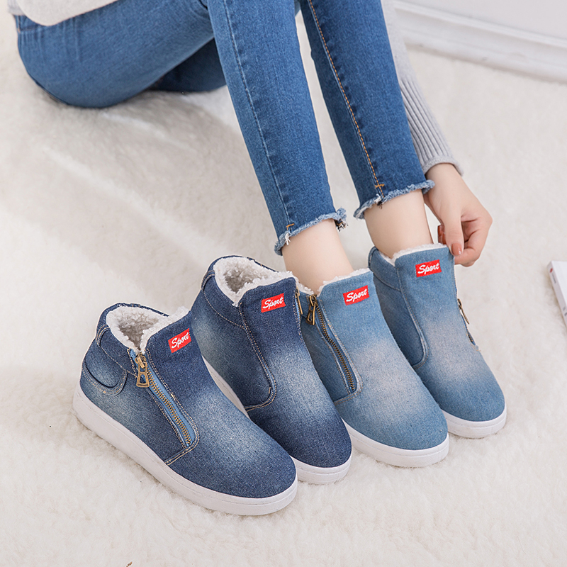 2018 New Winter Shoes Women Denim Ankle Boots Classic Zipper Snow Boots Warm Plush Thickening Flat Boots For Zapatos De Mujer