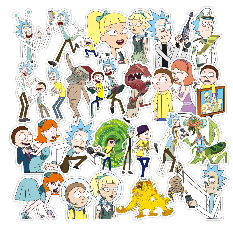 100 Pcs Funny Cartoon Kids Stickers rick and morty Sticker Toys Laptop Notebook Skateboard DIY Small