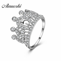 Women 925 Sterling Silver Jewelry Queen Crown Ring Trendy Sona The Queen's Temperament Woodwork Anillo Engagement Party Gift