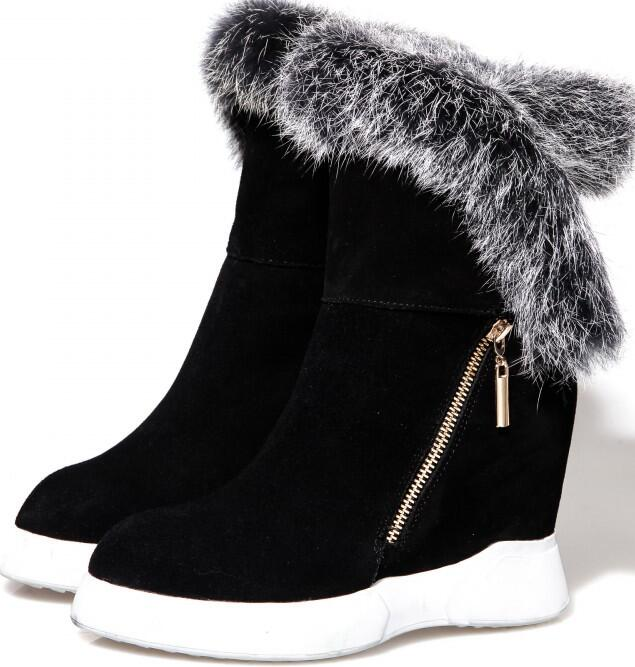 Women Winter Full Grain Leather Flock Height Increase Elevator Rabbit Fur Fashion Warm Ankle Snow Boots Size 34-39 SXQ1012 2016 fashion women hat winter skullies beanies knitted warm hats rabbit fur bonnet cap