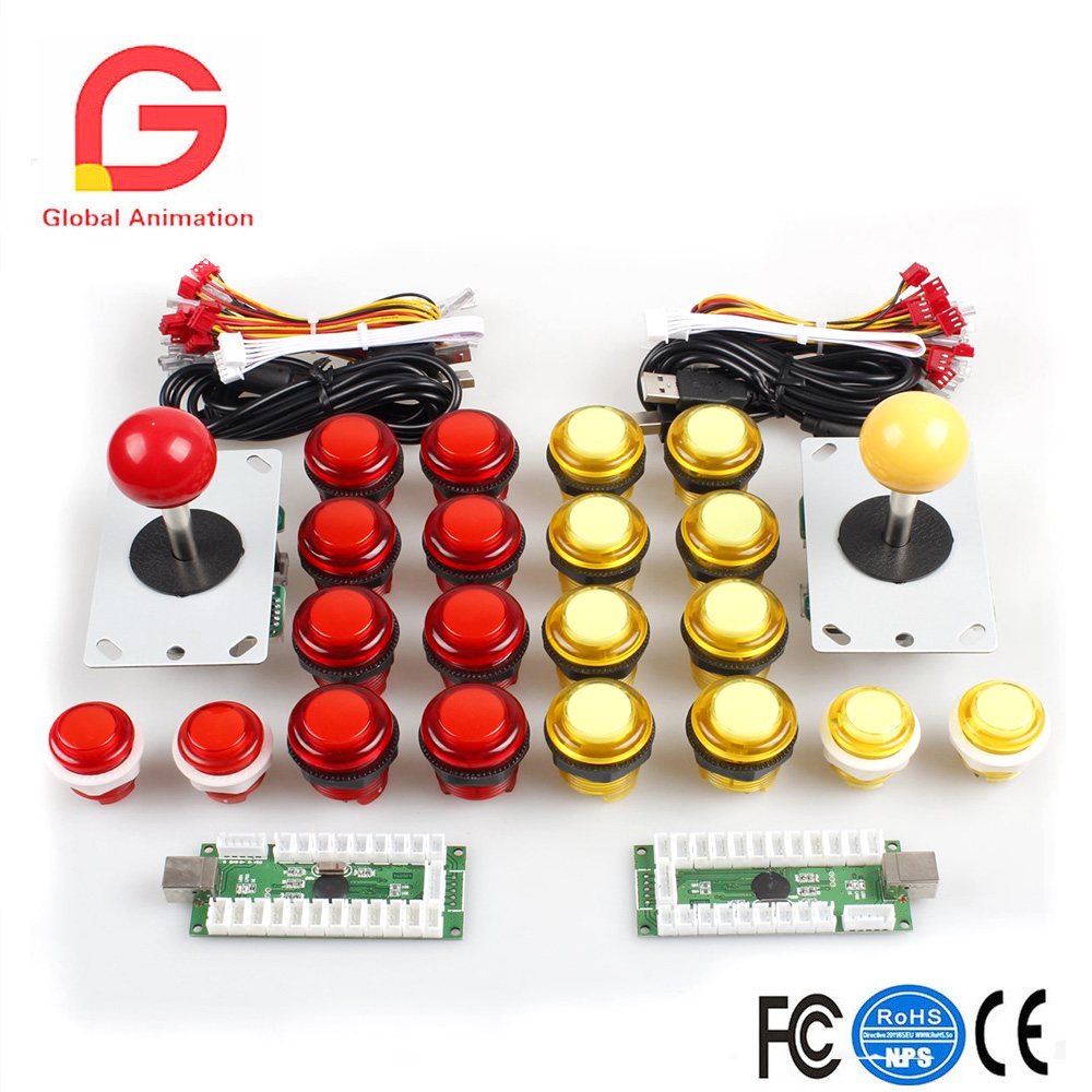 Classic Arcade DIY Kit Parts 2x USB LED Encoder To PC Controls Joystick Games+2x 4/8 Ways Stick+20x 5V Illuminated Push Buttons arcade bundle with 60 in 1pcb power supply illuminated joystick illuminated button microswitch jamma harness speaker ground wire