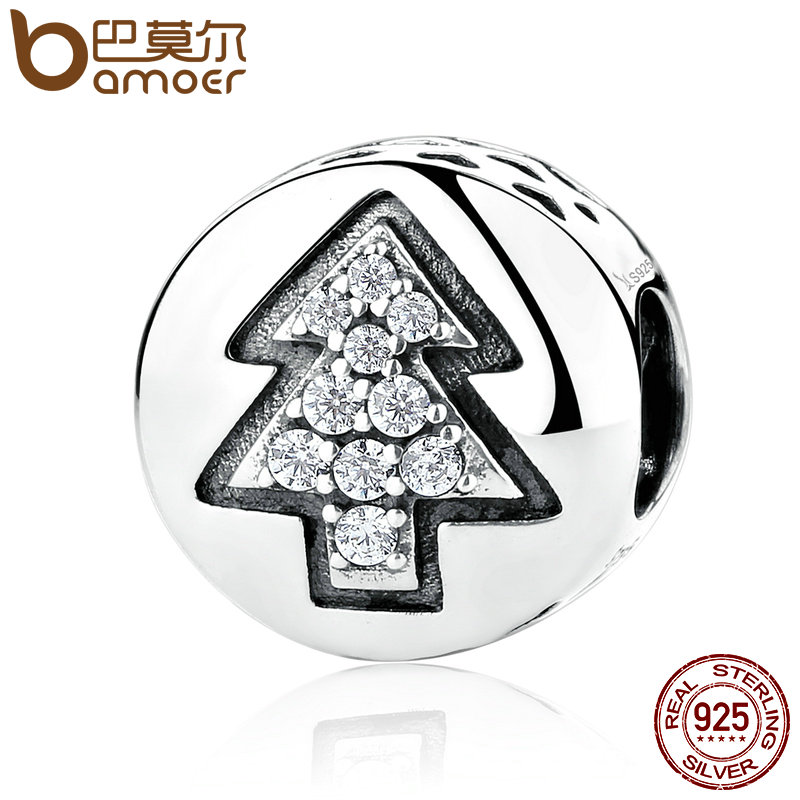 BAMOER 925 Sterling Silver High Quality Christmas Tree Bead Charms fit Bracelets & Necklaces DIY Fine Jewelry SCC064 брелок silver angel 150pcs diy 15x22mm a956 fit slide bracelets necklaces jewelry findings