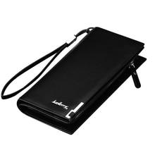 Gratis frakt Nya klassiska män långa mönster läder plånbok handväska dragkedja stängning pengar väska för västerländska stil affärsman ID
