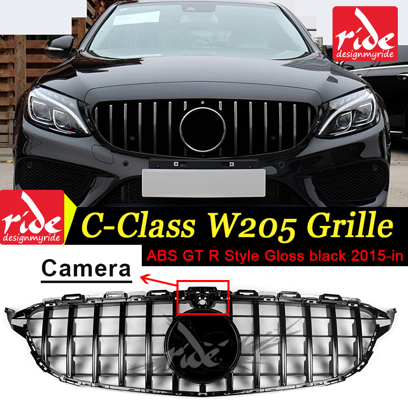 GT R Style W205 Tape camera Grille Gloss Black Emblem Front Bumper mesh Radiator For benz c-class w205 2015~18 Car grille
