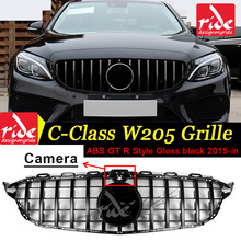 все цены на GT R Style W205 Tape camera Grille Gloss Black Emblem Front Bumper mesh Radiator Grille For benz c-class w205 2015~18 Car grille онлайн