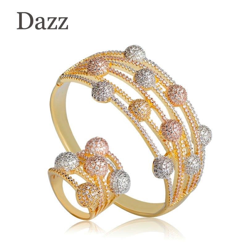 Dazz cubique zircone femmes Bracelet Bracelet et bague ensembles Baguette trois tons creux mariage indien africain perles ensemble de bijoux