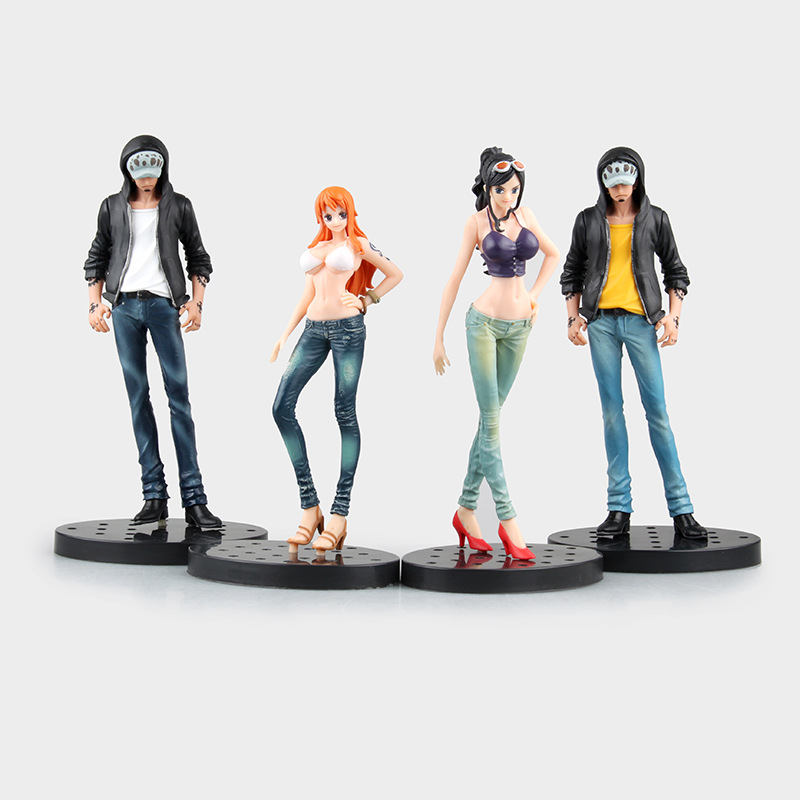 Japan Anime One Piece Jeans modeling JEANS FREAK Nami Nico Robin Trafalgar Law PVC Figure Collectible Model Toy 17cm