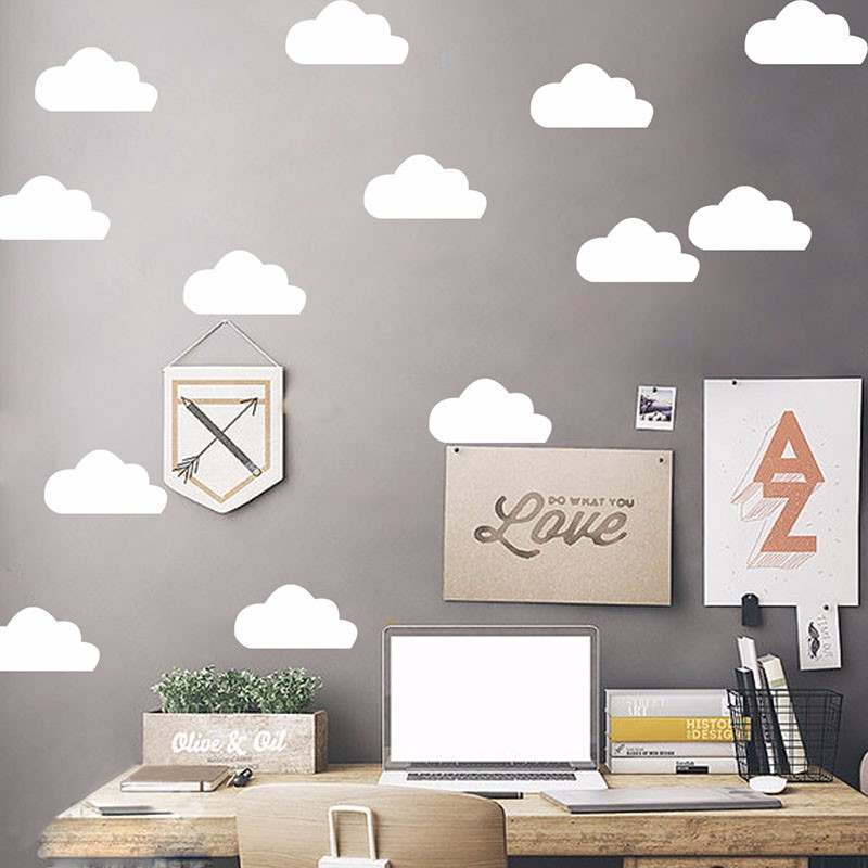 Cartoon White Clouds Wall Stickers For Kids Baby Rooms Nursery Decoration Self-adhesive Wall Decals Vinyl Art Mural Wallpaper(China)