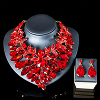 LAN PALACE wedding jewellery set bridal jewelry engagement necklace and earrings glass sets for party free shipping