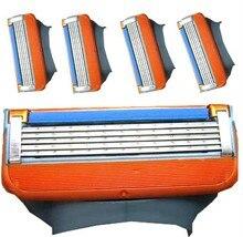 4 unids paquete de marca de alta Calidad Cuchilla para gilett Fusione original power shaving razor blades para gilete hombres Estándar para gratis