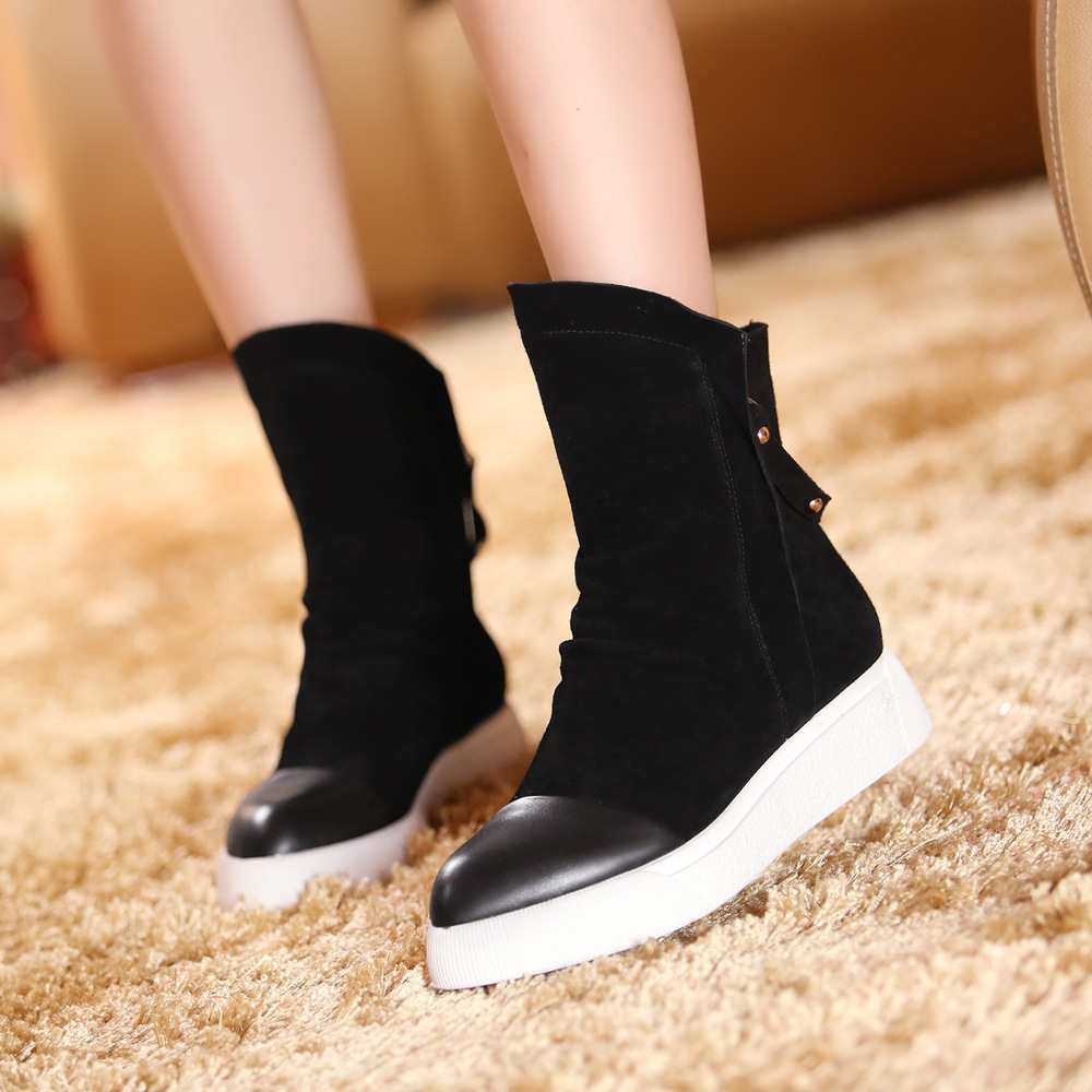 Europe and America Women Autumn Winter Flats Chunky Heel Round Toe Genuine Leather Fashion Ankle Boots Plus Size 34-42 SXQ0812 dreambox 2017 autumn and winter trends in europe and america woven leather breathable shoes in thick soled sports shoes men