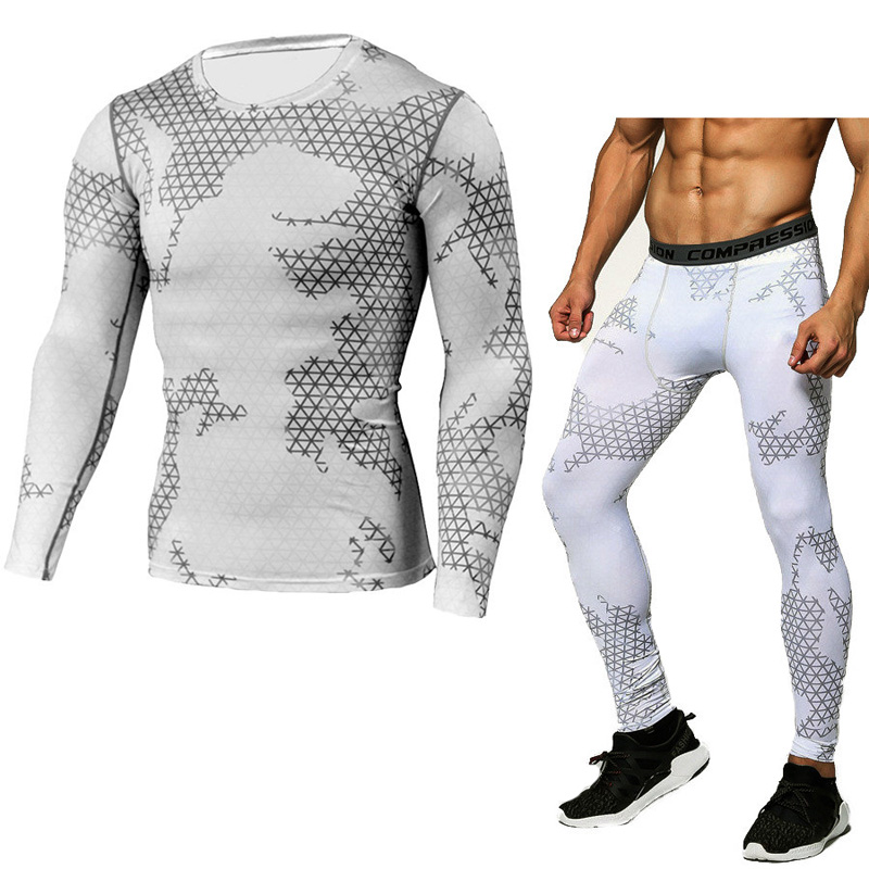 Compression Shirt Tactical Mma Rash Gard Male Union Suit Men's Long Sleeve T-shirt + Tights For Men Set Pants Fitness Clothing