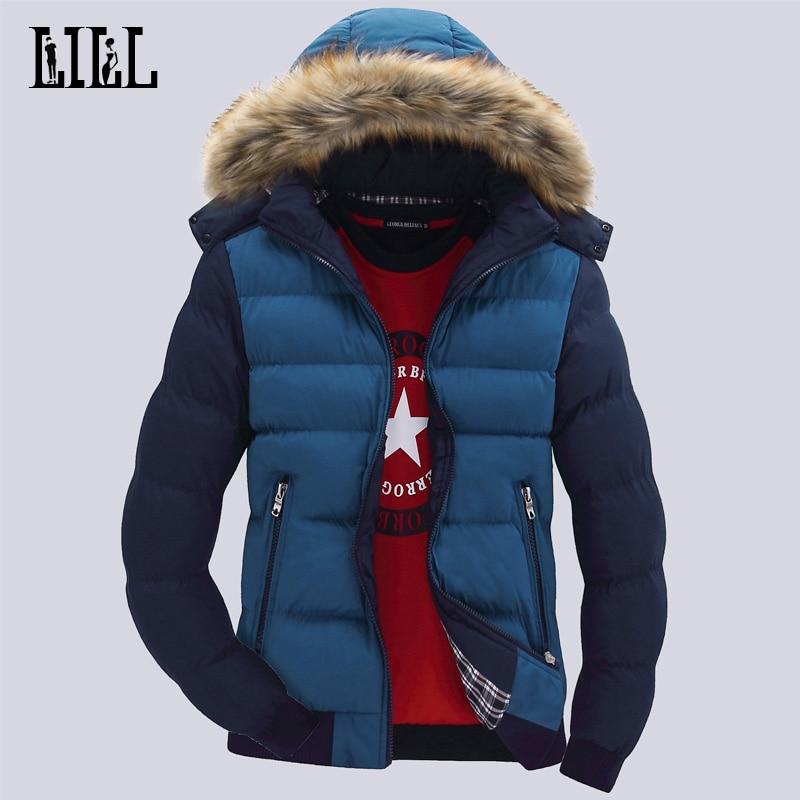 9 Färg Mode Märke Vinter Mäns Down Jacket Med Fur Hood Hatt Slim - Herrkläder - Foto 3