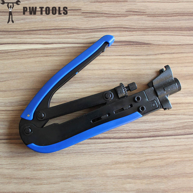 PW TOOLS Carbon Steel Crimping Pliers Coaxial Cable F head Squeeze Clamp Portable Cable Wire Cutter Cutting Crimping Pliers